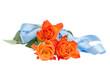 orange roses with blue ribbon