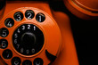 canvas print picture - Orange Retro Phone close up