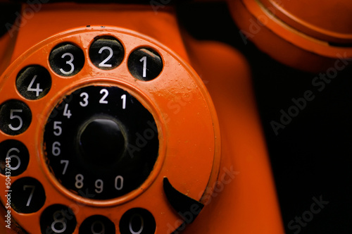 canvas print picture Orange Retro Phone close up