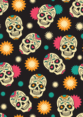 Seamless with sugar skulls