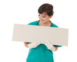 healthcare worker woman with empty board