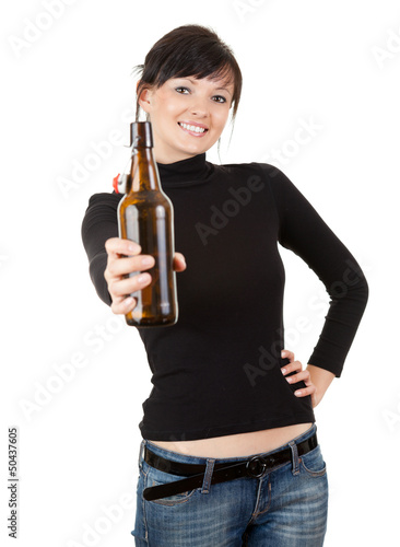 pretty young woman drinking beer, focus on face