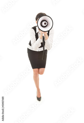 young businesswoman with megaphone, shouting