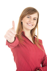 smiling young woman with thumb up