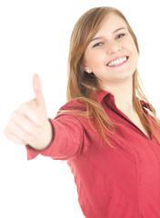 cheerful teenage girl  with thumb up