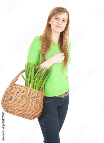 young woman with wicker basket