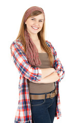 smiling teenage girl with folded arms