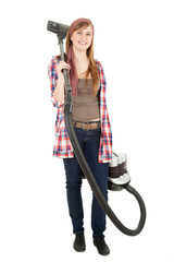 young woman with a vacuum cleaner