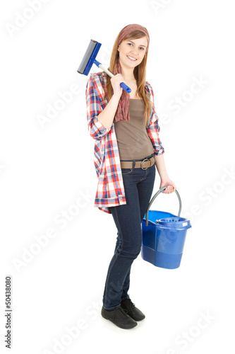 young woman with mop and blue bucket, full length
