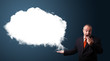 funny businessman presenting abstract cloud copy space