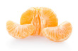 Tangerine peeled on white, clipping path included