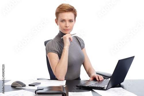 Attractive businesswoman with laptop