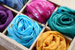 Set of colorful scarfs in wooden box - 50439678