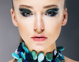 Glamorous Woman in Semi Precious Turquoise Necklace close up