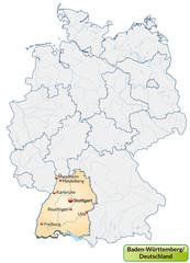 Landkarte von Deutschland und Baden-Württemberg