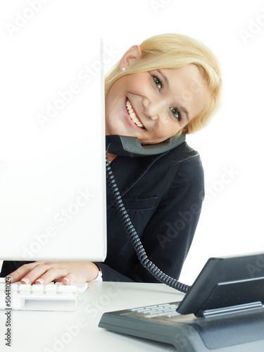 Female office assistant has fun to call a customer