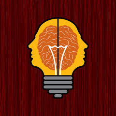 concept of brain with bulb as a solution to problem