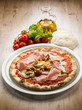 pizza with ham and mushroom