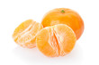 Tangerine and half on white, clipping path included