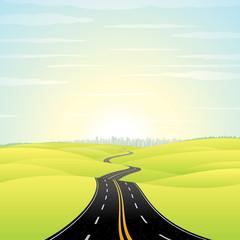 Illustration of Landscape with Highway Road
