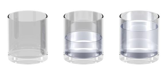 3 Wassergläser nebeneinander - leer, halb voll, voll