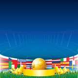 Football Background with European Flags