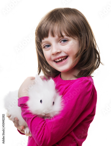 little girl and little white rabbit