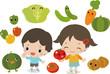 たくさんの野菜と笑顔の子どもたち
