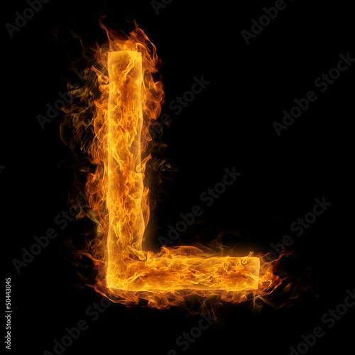 In de dag Vuur / Vlam Flaming Letter L