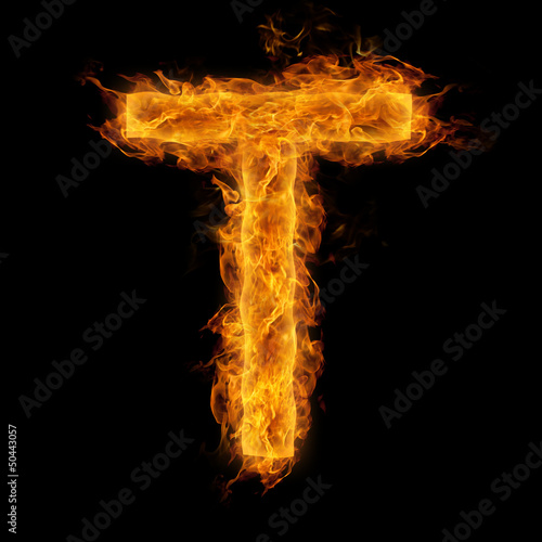 In de dag Vuur / Vlam Flaming Letter T
