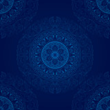 Vintage seamless pattern on blue background