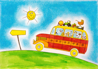 School bus trip, child's drawing, watercolor painting on paper