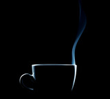 Fototapety beleuchteter umriss einer dampfenden tasse kaffee oder tee