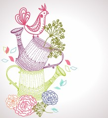 Floral background with watering can and bird