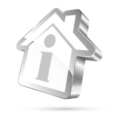 House Icon Information 3D White/Silver