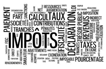 """Nuage de Tags """"IMPOTS"""" (argent taxes impôts trésor public)"""