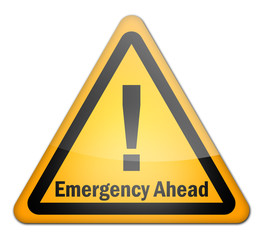"Hazard Sign ""Emergency Ahead"""