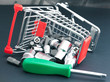 Screwdriver with interchangeable heads in toppled shopping cart