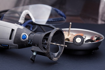 Rotary tools with accessory and safety equipment goggles