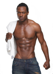 Muscular African American Man with No Shirt