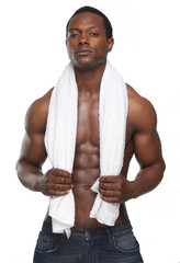 Sexy African American Man with Towel