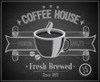 Coffee House card - Chalkboard. Vector illustration.