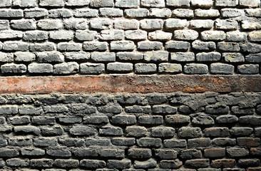 Background, muro de ladrillos negros por el humo