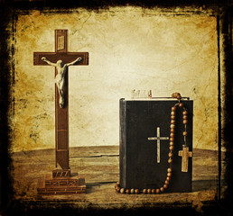 The book of Catholic Church liturgy and rosary beads