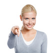 Woman pointing with forefinger, isolated on white