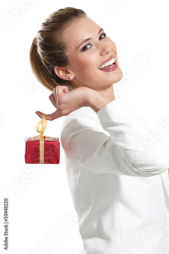 Young beautiful woman with a gift