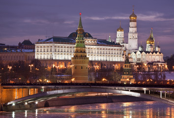 Panorama of the Moscow Kremlin pink dawn