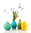 Decorative ceramic vases isolated on white