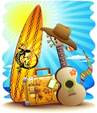 Suitcase Surf and Guitar Summer Fun-Valigia Surf e Chitarra