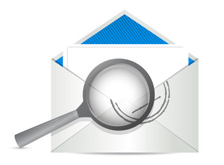 envelope with magnify glass in front